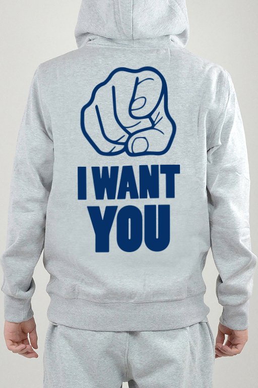 Hoodie Grå, I Want You - 2512