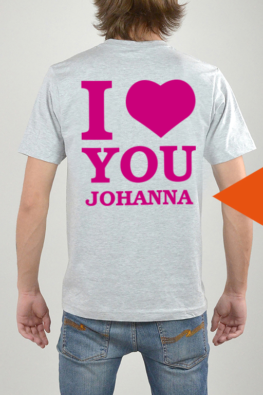 T-Shirt Grå, I Love You - 3270