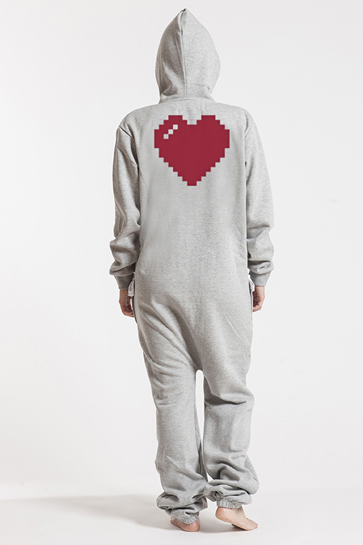 Comfy Grey & Silver, Heart, Jumpsuit - 4841