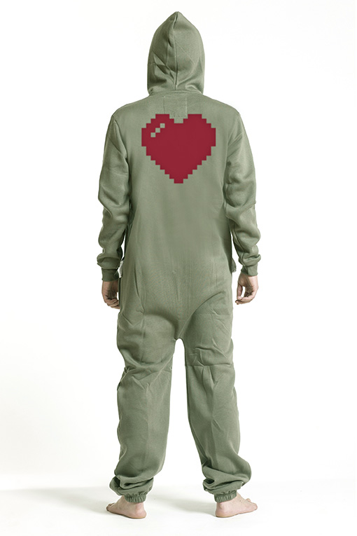 Comfy Armygreen, Heart, Jumpsuit - 4873