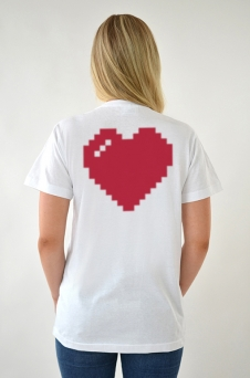 T-shirt Vit, Heart - 1681