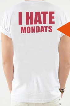 T-shirt Vit, I Hate - 1754