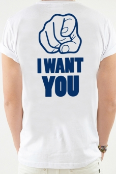 T-Shirt Vit, I want you - 1962