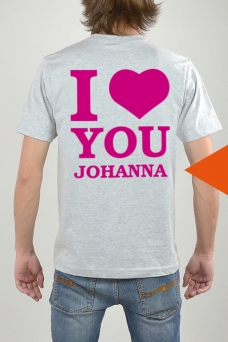 T-Shirt Grå, I Love You - 3273