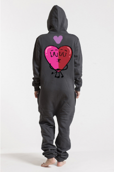 Comfy Dark Grey & Silver, Love Heart, Jumpsuit - 6005